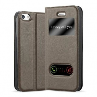Cadorabo Hülle für Apple iPhone 5 / iPhone 5S / iPhone SE in STEIN BRAUN - Handyhülle mit Magnetverschluss, Standfunktion und 2 Sichtfenstern - Case Cover Schutzhülle Etui Tasche Book Klapp Style