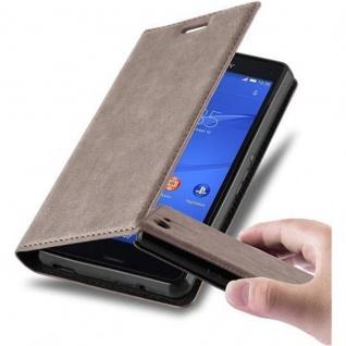 Cadorabo Hülle für Sony Xperia Z3 COMPACT in KAFFEE BRAUN - Handyhülle mit Magnetverschluss, Standfunktion und Kartenfach - Case Cover Schutzhülle Etui Tasche Book Klapp Style