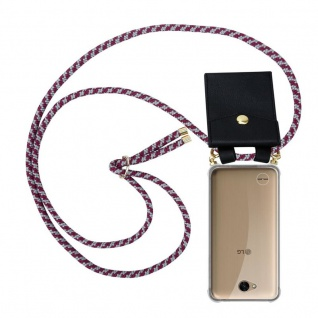 Cadorabo Handy Kette für LG X Power 2 in ROT WEISS - Silikon Necklace Umhänge Hülle mit Gold Ringen, Kordel Band Schnur und abnehmbarem Etui ? Schutzhülle - Vorschau 1