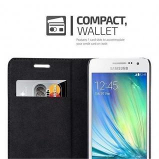 Cadorabo Hülle für Samsung Galaxy A3 2015 in NACHT SCHWARZ - Handyhülle mit Magnetverschluss, Standfunktion und Kartenfach - Case Cover Schutzhülle Etui Tasche Book Klapp Style - Vorschau 3