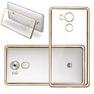 Cadorabo Hülle für Huawei MATE 8 - Hülle in TRANSPARENT mit CHROM GOLD ? Handyhülle aus TPU Silikon im Chrom Design - Silikonhülle Schutzhülle Ultra Slim Soft Back Cover Case Bumper