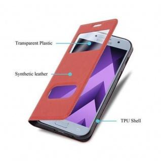 Cadorabo Hülle für Samsung Galaxy A3 2017 in SAFRAN ROT - Handyhülle mit Magnetverschluss, Standfunktion und 2 Sichtfenstern - Case Cover Schutzhülle Etui Tasche Book Klapp Style - Vorschau 3