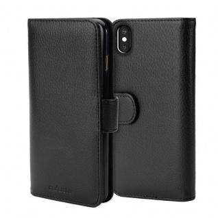 Cadorabo Hülle für Apple iPhone X / XS in OXID SCHWARZ ? Handyhülle mit Magnetverschluss und 3 Kartenfächern ? Case Cover Schutzhülle Etui Tasche Book Klapp Style