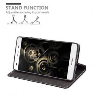 Cadorabo Hülle für Huawei P8 LITE 2015 in SCHWARZ BRAUN - Handyhülle mit Magnetverschluss, Standfunktion und Kartenfach - Case Cover Schutzhülle Etui Tasche Book Klapp Style - Vorschau 5