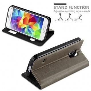 Cadorabo Hülle für Samsung Galaxy S5 MINI / S5 MINI DUOS in STEIN BRAUN ? Handyhülle mit Magnetverschluss, Standfunktion und 2 Sichtfenstern ? Case Cover Schutzhülle Etui Tasche Book Klapp Style - Vorschau 4