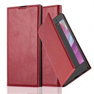 Cadorabo Hülle für Sony Xperia XA1 in APFEL ROT - Handyhülle mit Magnetverschluss, Standfunktion und Kartenfach - Case Cover Schutzhülle Etui Tasche Book Klapp Style