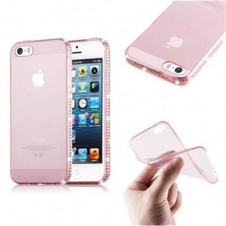 Cadorabo Hülle für Apple iPhone 5 / iPhone 5S / iPhone SE - Hülle in TRANSPARENT ROSA ? Handyhülle aus TPU Silikon im Strass Design - Ultra Slim Soft Backcover Case Bumper