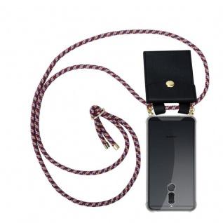 Cadorabo Handy Kette für Huawei MATE 10 / NOVA 2i in ROT GELB WEISS - Silikon Necklace Umhänge Hülle mit Gold Ringen, Kordel Band Schnur und abnehmbarem Etui ? Schutzhülle