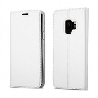 Cadorabo Hülle für Samsung Galaxy S9 in CLASSY SILBER Handyhülle mit Magnetverschluss, Standfunktion und Kartenfach Case Cover Schutzhülle Etui Tasche Book Klapp Style