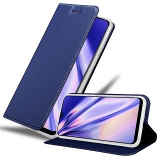 Cadorabo Hülle für Samsung Galaxy A30S in CLASSY DUNKEL BLAU - Handyhülle mit Magnetverschluss, Standfunktion und Kartenfach - Case Cover Schutzhülle Etui Tasche Book Klapp Style