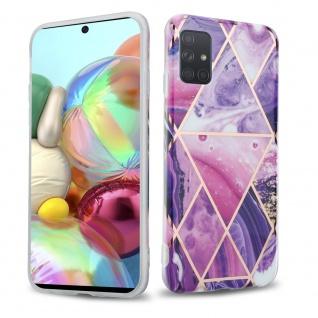 Cadorabo Hülle für Samsung Galaxy A71 4G Hülle in Lila Welle Marmor No.14 Handyhülle aus TPU Silikon mit Muster Mosaik Silikonhülle Schutzhülle Ultra Slim Back Cover Case Bumper