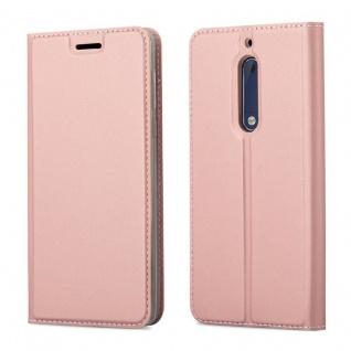 Cadorabo Hülle für Nokia 5 2017 in CLASSY ROSÉ GOLD - Handyhülle mit Magnetverschluss, Standfunktion und Kartenfach - Case Cover Schutzhülle Etui Tasche Book Klapp Style