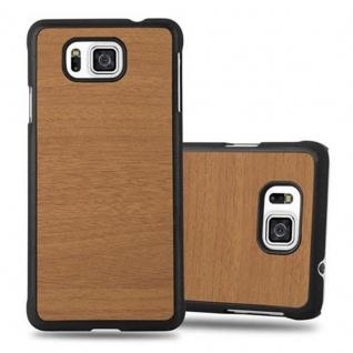 Cadorabo Hülle für Samsung Galaxy ALPHA in WOODY BRAUN ? Hardcase Handyhülle aus Plastik gegen Kratzer und Stöße ? Schutzhülle Bumper Ultra Slim Back Case Hard Cover