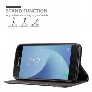 Cadorabo Hülle für Samsung Galaxy J3 2017 in BLAU BRAUN - Handyhülle mit Magnetverschluss, Standfunktion und Kartenfach - Case Cover Schutzhülle Etui Tasche Book Klapp Style - Vorschau 4