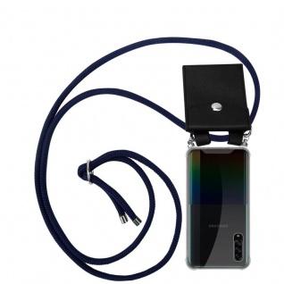 Cadorabo Handy Kette für Samsung Galaxy A90 5G in TIEF BLAU Silikon Necklace Umhänge Hülle mit Silber Ringen, Kordel Band Schnur und abnehmbarem Etui Schutzhülle