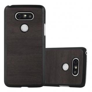 Cadorabo Hülle für LG G5 in WOODY SCHWARZ - Hardcase Handyhülle aus Plastik gegen Kratzer und Stöße - Schutzhülle Bumper Ultra Slim Back Case Hard Cover