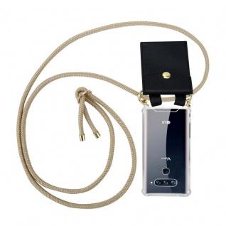 Cadorabo Handy Kette für LG V40 in GLÄNZEND BRAUN Silikon Necklace Umhänge Hülle mit Gold Ringen, Kordel Band Schnur und abnehmbarem Etui Schutzhülle