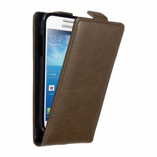 Cadorabo Hülle für Samsung Galaxy S4 MINI in KAFFEE BRAUN - Handyhülle im Flip Design mit unsichtbarem Magnetverschluss - Case Cover Schutzhülle Etui Tasche Book Klapp Style