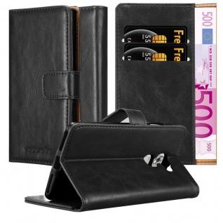 Cadorabo Hülle für Huawei MATE S in GRAPHIT SCHWARZ ? Handyhülle mit Magnetverschluss, Standfunktion und Kartenfach ? Case Cover Schutzhülle Etui Tasche Book Klapp Style