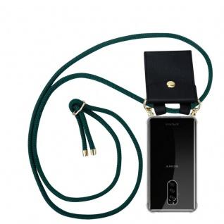 Cadorabo Handy Kette für Sony Xperia 1 in ARMEE GRÜN - Silikon Necklace Umhänge Hülle mit Gold Ringen, Kordel Band Schnur und abnehmbarem Etui ? Schutzhülle