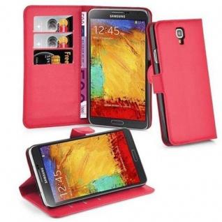 Cadorabo Hülle für Samsung Galaxy NOTE 3 NEO in KARMIN ROT - Handyhülle mit Magnetverschluss, Standfunktion und Kartenfach - Case Cover Schutzhülle Etui Tasche Book Klapp Style