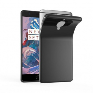 Cadorabo Hülle für OnePlus 3 / 3T in SCHWARZ - Handyhülle aus flexiblem TPU Silikon - Silikonhülle Schutzhülle Ultra Slim Soft Back Cover Case Bumper