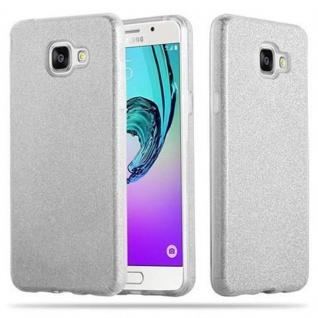 Cadorabo Hülle für Samsung Galaxy A3 2016 - Hülle in STERNENSTAUB SILBER ? TPU Silikon und Hardcase Handyhülle im Glitzer Design - Hard Case TPU Silikon Schutzhülle