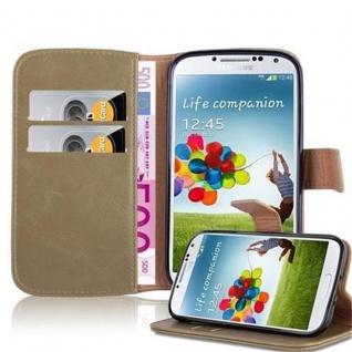 Cadorabo Hülle für Samsung Galaxy S4 in CAPPUCCINO BRAUN Handyhülle mit Magnetverschluss, Standfunktion und Kartenfach Case Cover Schutzhülle Etui Tasche Book Klapp Style