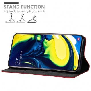 Cadorabo Hülle für Samsung Galaxy A80 / A90 in APFEL ROT - Handyhülle mit Magnetverschluss, Standfunktion und Kartenfach - Case Cover Schutzhülle Etui Tasche Book Klapp Style - Vorschau 4