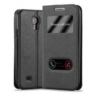 Cadorabo Hülle für Samsung Galaxy S4 in KOMETEN SCHWARZ - Handyhülle mit Magnetverschluss, Standfunktion und 2 Sichtfenstern - Case Cover Schutzhülle Etui Tasche Book Klapp Style