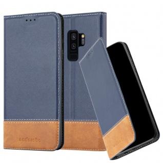 Cadorabo Hülle für Samsung Galaxy S9 PLUS in DUNKEL BLAU BRAUN ? Handyhülle mit Magnetverschluss, Standfunktion und Kartenfach ? Case Cover Schutzhülle Etui Tasche Book Klapp Style
