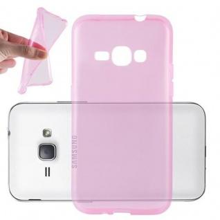 Cadorabo Hülle für Samsung Galaxy J1 2016 in TRANSPARENT PINK - Handyhülle aus flexiblem TPU Silikon - Silikonhülle Schutzhülle Ultra Slim Soft Back Cover Case Bumper