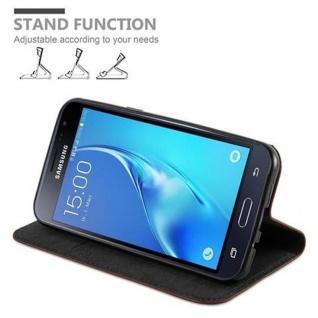 Cadorabo Hülle für Samsung Galaxy J3 2016 in CAPPUCCINO BRAUN - Handyhülle mit Magnetverschluss, Standfunktion und Kartenfach - Case Cover Schutzhülle Etui Tasche Book Klapp Style - Vorschau 4