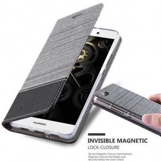 Cadorabo Hülle für Huawei P8 LITE 2015 in GRAU SCHWARZ - Handyhülle mit Magnetverschluss, Standfunktion und Kartenfach - Case Cover Schutzhülle Etui Tasche Book Klapp Style
