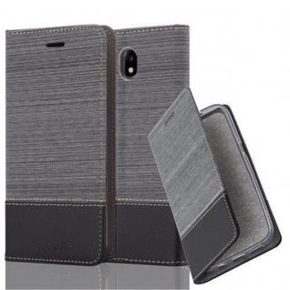 Cadorabo Hülle für Samsung Galaxy J3 2017 in GRAU SCHWARZ - Handyhülle mit Magnetverschluss, Standfunktion und Kartenfach - Case Cover Schutzhülle Etui Tasche Book Klapp Style