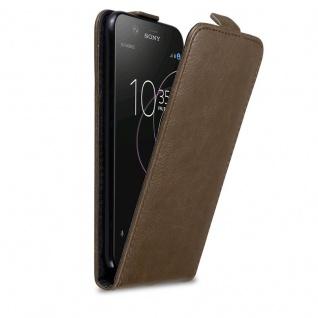 Cadorabo Hülle für Sony Xperia XZ1 in KAFFEE BRAUN - Handyhülle im Flip Design mit Magnetverschluss - Case Cover Schutzhülle Etui Tasche Book Klapp Style
