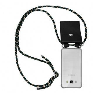 Cadorabo Handy Kette für Samsung Galaxy J5 2016 in CAMOUFLAGE - Silikon Necklace Umhänge Hülle mit Silber Ringen, Kordel Band Schnur und abnehmbarem Etui - Schutzhülle