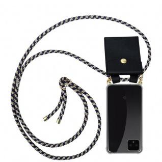 Cadorabo Handy Kette für Google Pixel 4 XL in DUNKELBLAU GELB Silikon Necklace Umhänge Hülle mit Gold Ringen, Kordel Band Schnur und abnehmbarem Etui Schutzhülle