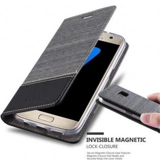 Cadorabo Hülle für Samsung Galaxy S7 in GRAU SCHWARZ - Handyhülle mit Magnetverschluss, Standfunktion und Kartenfach - Case Cover Schutzhülle Etui Tasche Book Klapp Style