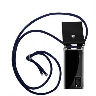 Cadorabo Handy Kette für Huawei P40 in TIEF BLAU Silikon Necklace Umhänge Hülle mit Silber Ringen, Kordel Band Schnur und abnehmbarem Etui Schutzhülle