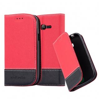 Cadorabo Hülle für Samsung Galaxy TREND LITE in ROT SCHWARZ ? Handyhülle mit Magnetverschluss, Standfunktion und Kartenfach ? Case Cover Schutzhülle Etui Tasche Book Klapp Style