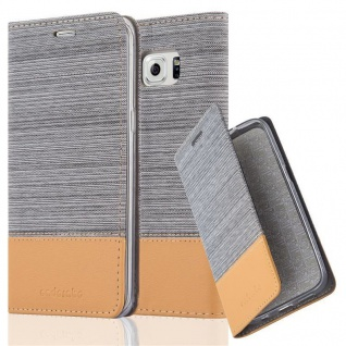 Cadorabo Hülle für Samsung Galaxy S6 EDGE PLUS in HELL GRAU BRAUN - Handyhülle mit Magnetverschluss, Standfunktion und Kartenfach - Case Cover Schutzhülle Etui Tasche Book Klapp Style