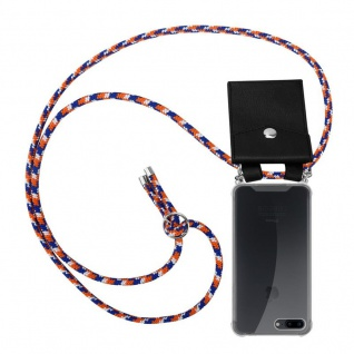 Cadorabo Handy Kette für Apple iPhone 8 PLUS / 7 PLUS / 7S PLUS in ORANGE BLAU WEISS - Silikon Necklace Umhänge Hülle mit Silber Ringen, Kordel Band Schnur und abnehmbarem Etui - Schutzhülle