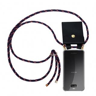 Cadorabo Handy Kette für Sony Xperia 10 PLUS in BLAU ROT WEISS GEPUNKTET - Silikon Necklace Umhänge Hülle mit Gold Ringen, Kordel Band Schnur und abnehmbarem Etui ? Schutzhülle