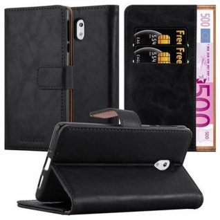 Cadorabo Hülle für Nokia 3 2017 in GRAPHIT SCHWARZ ? Handyhülle mit Magnetverschluss, Standfunktion und Kartenfach ? Case Cover Schutzhülle Etui Tasche Book Klapp Style