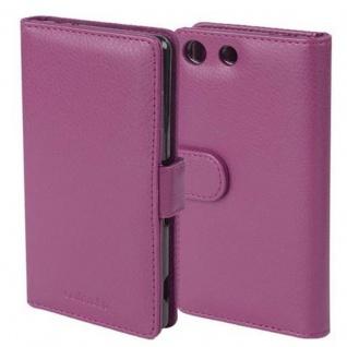 Cadorabo Hülle für Sony Xperia M5 in BORDEAUX LILA ? Handyhülle mit Magnetverschluss und 3 Kartenfächern ? Case Cover Schutzhülle Etui Tasche Book Klapp Style