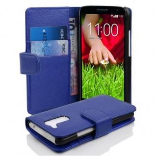 Cadorabo Hülle für LG G2 MINI in KÖNIGS BLAU - Handyhülle aus strukturiertem Kunstleder mit Standfunktion und Kartenfach - Case Cover Schutzhülle Etui Tasche Book Klapp Style