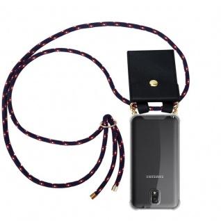Cadorabo Handy Kette für Samsung Galaxy NOTE 3 in BLAU ROT WEISS GEPUNKTET - Silikon Necklace Umhänge Hülle mit Gold Ringen, Kordel Band Schnur und abnehmbarem Etui ? Schutzhülle