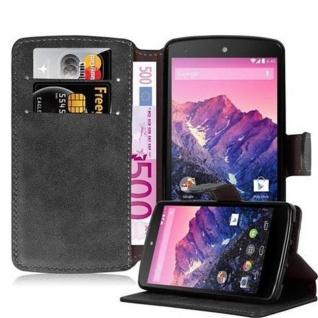 Cadorabo Hülle für LG NEXUS 5 - Hülle in MATT SCHWARZ - Handyhülle mit Standfunktion und Kartenfach im Retro Design - Case Cover Schutzhülle Etui Tasche Book Klapp Style