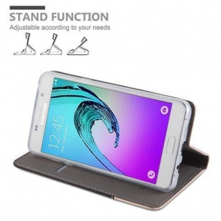 Cadorabo Hülle für Samsung Galaxy A5 2016 in ANTRAZIT GOLD - Handyhülle mit Magnetverschluss, Standfunktion und Kartenfach - Case Cover Schutzhülle Etui Tasche Book Klapp Style - Vorschau 3
